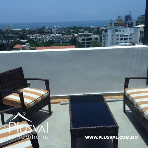 Apartamento amueblado en alquiler con vista espectacular al mar en Gazcue.