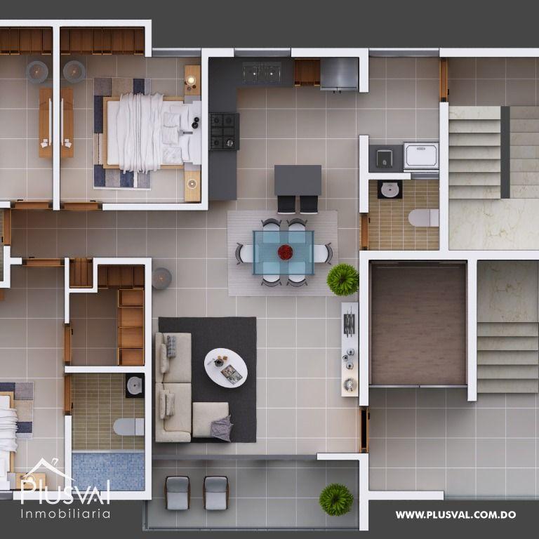 Apartamentos en venta con hermosa área social en El Copal, Santiago. 181704