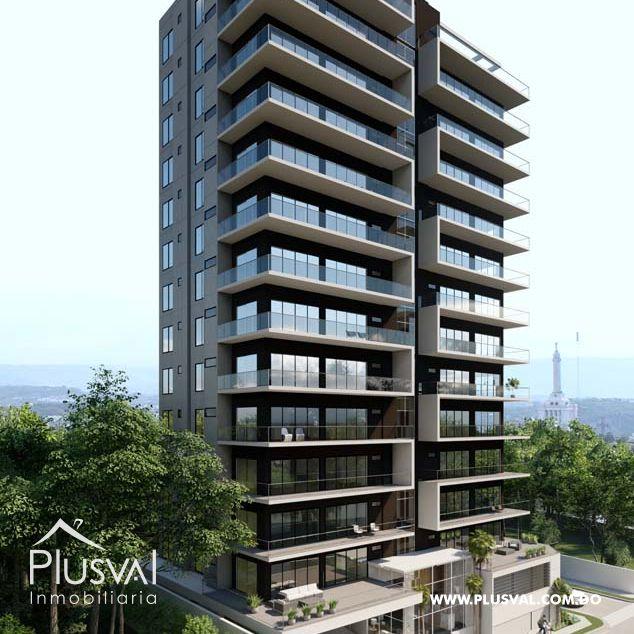 Hermosa torre de apartamentos a la venta, con piscina Infinity y excelentes amenidades, en La Esmeralda, Santiago.