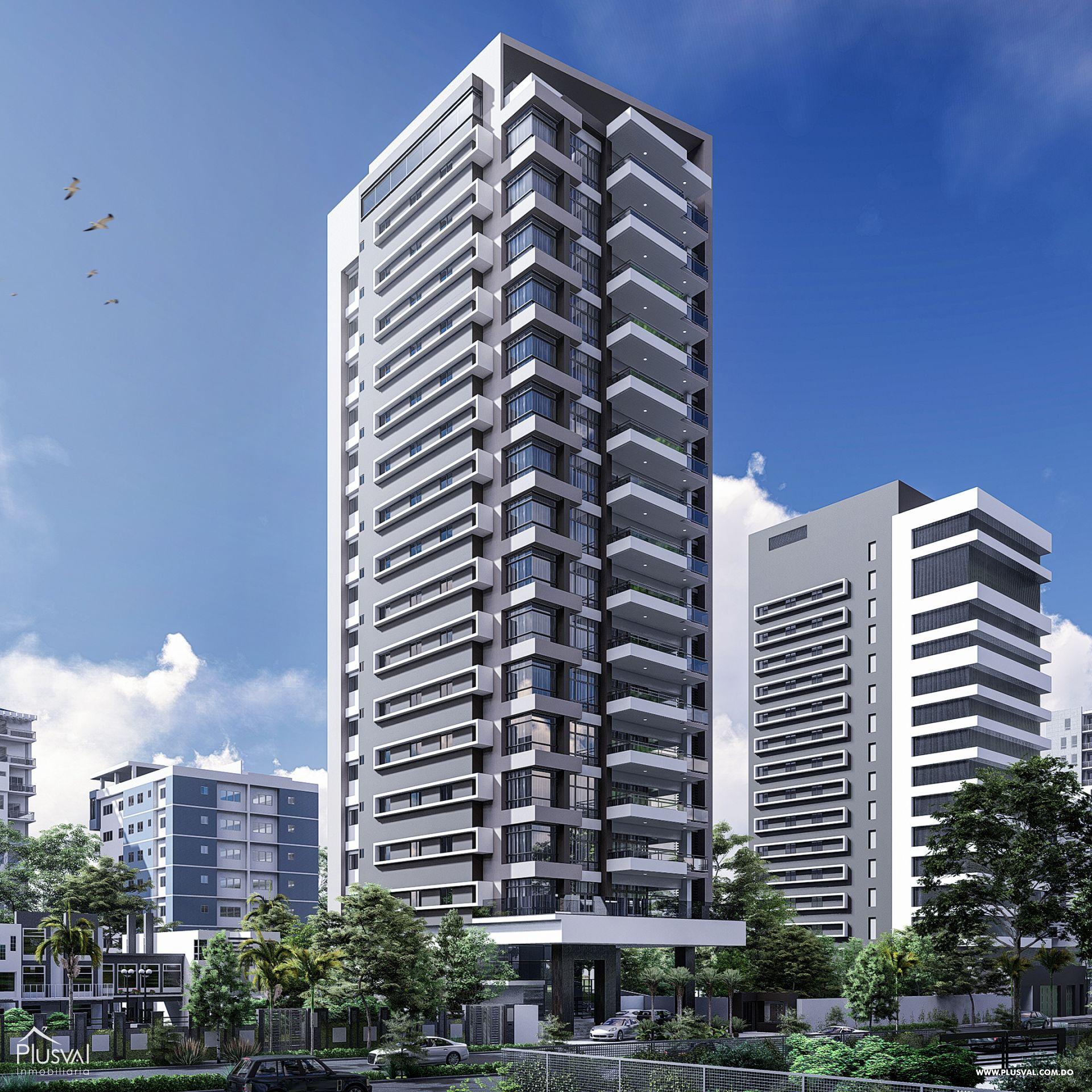 Imponente torre con apartamentos en venta uno por piso con vista al mar en Avenida Enriquillo, Cacicazgos.