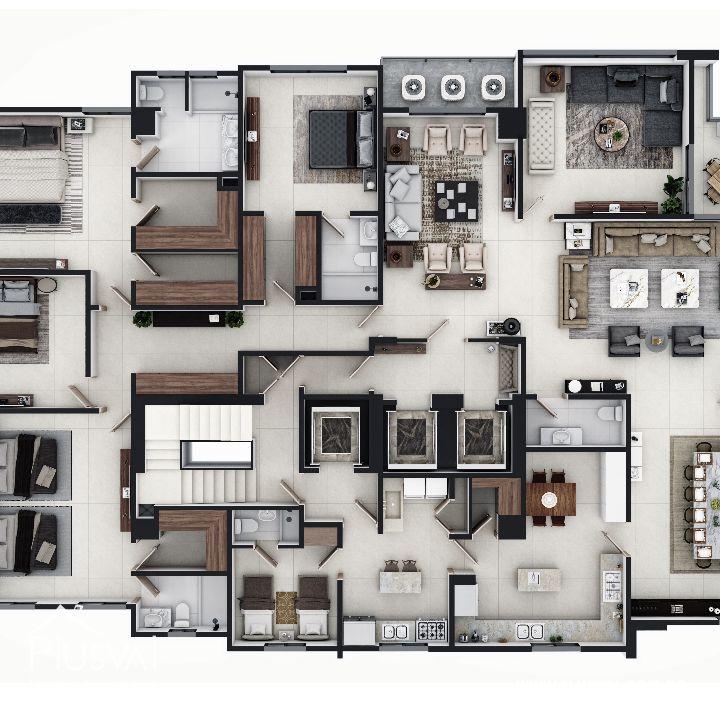 Imponente torre con apartamentos en venta uno por piso con vista al mar en Avenida Enriquillo, Cacicazgos. 144528