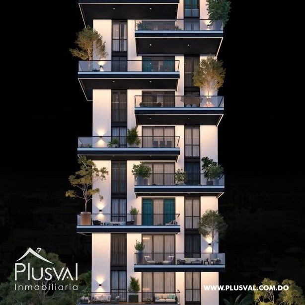 Moderna y única torre de apartamentos que posee 13 niveles, ubicada en Rincón Largo.